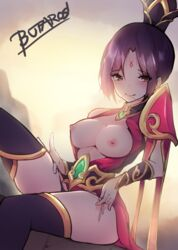1girls alternate_costume ass blush breasts butaros clothed dragonblade_riven female female_only league_of_legends looking_at_viewer nipples partially_clothed riot_games riven thighs