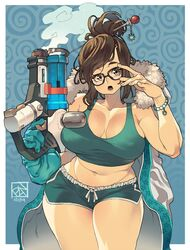 abstract_background adjusting_glasses blizzard_entertainment cleavage coat cowboy_shot crop_top female large_breasts megane mei_(overwatch) overwatch poch4n short_shorts solo tank_top weapon