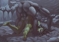 anal anal_sex ass_juice broken_rape_victim bubble_ass bubble_butt bumhole_destruction bumrape impossible_fit interspecies large_ass muscle_tone muscles muscular muscular_female orc orc_female pussy_juice pussy_juice_drip rape rape_face satyrsatyr squirting stretched_anus sweat sweatdrop troll