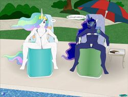 anthro anthrofied bikini breasts clothing duo fab3716 female friendship_is_magic my_little_pony pool_(disambiguation) princess_celestia_(mlp) princess_luna_(mlp) pussy swimwear