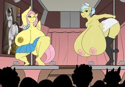 anthro areola ass barely_visible_genitalia barely_visible_pussy big_breasts big_butt bottomwear breasts clothed clothing dancing doctor_fauna_(mlp) equid equine female fluttershy_(mlp) friendship_is_magic garter_straps hi_res huge_breasts hyper hyper_breasts mammal my_little_pony nude octavia_(mlp) pole pole_dancing pterippus public pussy skirt skyearts swiftriff topless wings