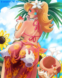 1boy 1girls ass ass_grab big_ass blonde_hair blue_eyes burgersnshakes disembodied_hands drink earrings female flower_in_hair food from_behind gloves groping hair_flower human looking_back male nintendo outdoors princess_peach shiny_skin sky solo_focus standing super_mario_bros. super_mario_sunshine toadsworth white_gloves
