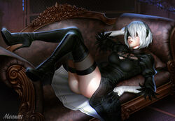 ass audia_pahlevi black_boots black_dress black_footwear black_gloves black_hair_ornament black_hairband black_legwear blindfold boots couch dress feather-trimmed_sleeves female gloves hairband high_heel_boots high_heels large_filesize lingerie lying nier:_automata nier_(series) on_back panchira pantsu puffy_sleeves shoes short_hair silver_hair solo thigh_boots thighhighs underwear yorha_2b yorha_no.2_type_b