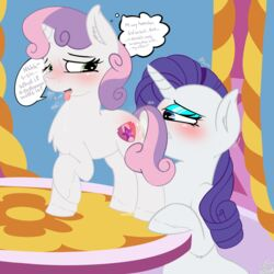 1:1 2019 bloodymascarade blush bodily_fluids cunnilingus cutie_mark duo english_text equid eyebrows eyelashes female female/female feral friendship_is_magic hair hi_res horn incest inside mammal my_little_pony oral rarity_(mlp) sex sweat sweetie_belle_(mlp) table text tongue tongue_out unicorn unicorn_horn vaginal_penetration yuri
