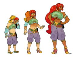 2017 abs blackshirtboy gender_transformation gerudo gerudo_link hair_growth link male_to_female mask nintendo ponytail red_hair skin_color_change solo tagme the_legend_of_zelda transformation
