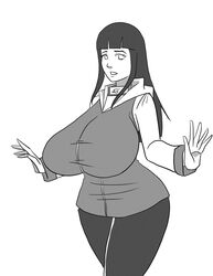 1girls alternate_breast_size big_ass big_breasts blind breasts clothed clothes deviantart eye_contact eyelashes female female_only hairband hocuspukeus huge_breasts hyuuga_hinata large_ass large_breasts long_hair looking_at_viewer monochrome naruto naruto_shippuden pants pose shirt solo spread_arms standing thick_thighs white_background wide_hips