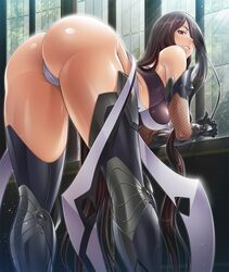 :d all_fours arched_back areolae armor ass back bare_shoulders bent_over boots breasts brown_eyes brown_hair choker clothing day elbow_gloves erect_nipples erect_nipples_under_clothes female female_only female_solo fishnets fuuma_saika gloves greaves hair_over_one_eye hands_together hanging_breasts high_heel_boots high_heels highleg highleg_leotard highres hip_focus hips huge_breasts impossible_clothes indoors large_breasts leaning_forward legs leotard lilith-soft lingerie lips lipstick long_hair looking_at_viewer looking_back makeup mature mature_female mole mole_under_mouth naughty_face nipples no_bra open_mouth panties pink_lipstick presenting presenting_hindquarters puffy_areolae red_eyes saika_fuuma seductive shiny shiny_clothes shiny_hair shiny_skin shoes sidelocks skin_tight smile solo spread_legs standing straight_hair sunlight taimanin_(series) taimanin_asagi_battle_arena taimanin_asagi_kessen_arena thigh_boots thighhighs thighs thong tight_clothing underwear very_long_hair white_panties white_underwear wide_hips window wings zol