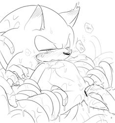 ambiguous_fluids anal anal_sex anthro black_and_white blush bodily_fluids censor_bar eulipotyphlan hedgehog japanese_text male mammal monochrome one_eye_closed penetration sikai solo sonic_(series) sonic_the_hedgehog sweat tears tentacle tentacle_sex text