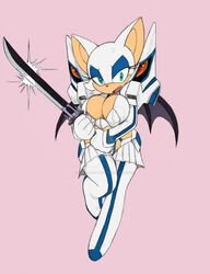 animal_ears anthro bat_wings blue_eyes breasts cleavage eyeshadow fangs full_body furry gloves holding holding_weapon kill_la_kill kiryuuin_satsuki large_breasts legs looking_at_viewer makeup rouge_the_bat sega sonic_(series) sword thighhighs thighs weapon white_gloves wings