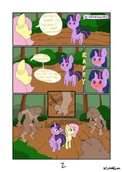 absurd_res blush canid canine comic dialogue english_text equid feral fluttershy_(mlp) friendship_is_magic group hi_res horn kumakum male mammal my_little_pony text twilight_sparkle_(mlp) unicorn video_games were werecanid werecanine werewolf