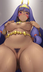 animal_ears bottomless breasts bunny_ears fate/grand_order nipples nitocris_(fate/grand_order) no_bra pubic_hair pussy rosaline shirt_lift uncensored