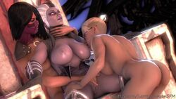 3d 3girls animated areolae ass big_breasts breasts butt cassie_cage female female_focus female_only large_breasts larryjohnsonsfm lesbian mileena mortal_kombat nipples nude pussy sindel sound tagme vagina webm yuri