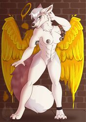 2020 abs anthro blush breasts canid canine canis digital_media_(artwork) female genitals grumpy_griffin_creations hair hi_res looking_at_viewer mammal muscular nipples nude open_mouth pecs public pussy simple_background smile solo wings wolf