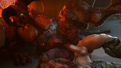 1boy 1girls 3d animated baron_of_hell big_breasts breasts cleavage demon doom doomguy erection female horns human humanoid large_breasts larger_female male male_human/female_demon male_human/female_humanoid meklab monster penetration penis pussy rule_63 sex size_difference smaller_male source_filmmaker spread_legs straight testicles text vaginal_penetration watermark webm
