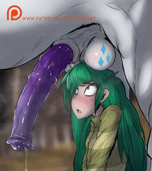 2020 animal_genitalia animal_penis balls bodily_fluids clothed clothing cutie_mark duo equid equine equine_penis eyebrows faceless_male feral friendship_is_magic ftm_crossgender genital_fluids genitals green_hair hair horse human long_hair male mammal medial_ring my_little_pony open_mouth patreon penis precum rarity_(mlp) rule_63 sinsigat solo_focus sweat text url wallflower_blush_(eg)
