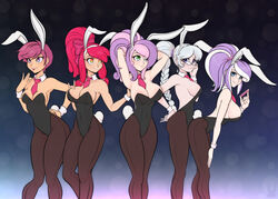 aged_up apple_bloom_(mlp) breasts bunny_ears bunny_girl bunny_tail bunnysuit cuffs cutie_mark_crusaders diamond_tiara_(mlp) friendship_is_magic glasses humanized large_breasts multiple_girls my_little_pony scootaloo_(mlp) scorpdk sideboob silver_spoon_(mlp) small_breasts stockings sweetie_belle_(mlp)