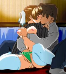 animated blush breast_grab breasts brown_hair couple erogos fingering hand_in_another's_panties hand_in_panties kissing konno_suzuka large_breasts love_fetish nipples panties pussy_juice shirt_lift thighhighs underwear wet