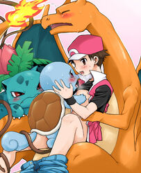 1boy after_kiss agemono baseball_cap blue_scales blue_skin blush bottomless bulbasaur charizard curled_tail exposed_chest eyes_closed human human_with_monster implied_anal interspecies ivysaur kissing looking_at_another lowres male nintendo orange_scales pants_around_ankle pants_around_one_leg pants_down pink_background pokemon pokemon_trainer pokephilia red red_(pokemon) red_eyes reptile saliva saliva_string saliva_trail shirt_lift sitting sitting_on_lap smile squirtle super_smash_bros. tentacle video_games white_outline yaoi yellow_scales young zoophilia