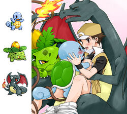 1boy after_kiss agemono baseball_cap black_scales blue_skin blush bottomless bulbasaur charizard curled_tail edit exposed_chest eyes_closed green_scales human human_with_monster implied_anal interspecies ivysaur jpeg_artifacts kissing looking_at_another lowres male nintendo pants_around_ankle pants_around_one_leg pants_down pink_background pokemon pokemon_trainer pokephilia red red_(pokemon) red_eyes reptile saliva saliva_string saliva_trail shirt_lift sitting sitting_on_lap smile squirtle super_smash_bros. tentacle video_games white_outline yaoi yellow_scales young zoophilia