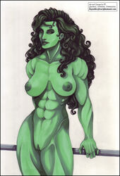 abs areola avengers breasts clitoris curly_hair erect_nipples female green_eyes green_skin happy jennifer_walters lips long_hair looking_at_viewer marvel medium_breasts muscle_tone muscles muscular_female nipples nude puffy_areola pussy she-hulk small_nipples smile solo thick_lips vagina vp