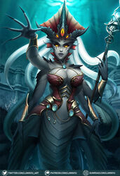 1girl 1girls 2019 blizzard_entertainment breasts cleavage female female_focus female_only glowing_eyes grey_skin jewelry large_breasts luminyu makeup monster_girl multiple_arms naga nail_polish nails nazjatar octopus queen_azshara solo solo_focus tattoos tentacle tentacle_hair voluptuous warcraft water world_of_warcraft