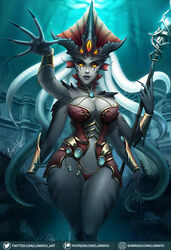 1girl 1girls 2019 blizzard_entertainment breasts cleavage female female_focus female_only glowing_eyes grey_skin jewelry large_breasts luminyu makeup monster_girl multiple_arms naga nail_polish nails nazjatar queen_azshara solo solo_focus tattoos tentacle tentacle_hair thick_thighs thighs voluptuous warcraft water world_of_warcraft