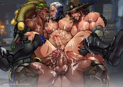 4boys abs anal bara big_balls big_penis blizzard_entertainment character_request cum_inside cum_on_ass cum_on_body cum_on_penis cum_on_testicles cumming cumshot erection foursome gangbang group_sex luxuris male male_focus male_only muscle nipples orgy overwatch pecs penis_size_difference soldier_76 threesome yaoi