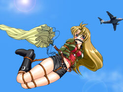 1girl airplane bit_gag blonde_hair blue_eyes blush bondage boots breasts crotch_rope curvy falling female female_only gag gagged helpless hogtie imminent_death jacket large_breasts lens_flare long_hair madlax madlax_(character) midriff navel nonude parachute restrained rope shorts skirt sky solo spark_utamaro