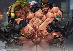 4boys abs anal bara big_balls big_penis blizzard_entertainment character_request erection foursome gangbang group_sex luxuris male male_focus male_only muscle nipples orgy overwatch pecs penis_size_difference soldier_76 threesome yaoi