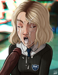 absurdres cum cum_in_mouth cum_on_face cum_on_tongue erection facial female gwen_stacy highres male marvel miles_morales open_mouth penis pumpkinsinclair spider-gwen spider-man_(series) tongue tongue_out