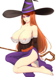 1girl areolae barefoot big_breasts breasts cleavage clothing dragon's_crown exposed_breasts feet female female_only hair hat huge_breasts large_breasts legs long_hair looking_at_viewer nipples orange_hair purple_eyes seductive solo sorceress_(dragon's_crown) thighs tsuki_riven video_games witch_hat