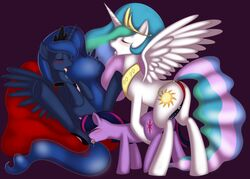 alicorn blue_eyes blue_fur blue_hair blush cutie_mark dildo drooling equine female friendship_is_magic group group_sex horn horse insertion kloudmutt long_hair mammal multicolored_hair my_little_pony nude open_mouth oral pony princess_celestia princess_celestia_(mlp) princess_luna_(mlp) pussy saliva sex sex_toy strapon threesome tongue tongue_out twilight_sparkle_(mlp) unicorn vaginal_penetration white_fur wings yuri