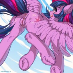 2019 alicorn anus ass blush cutie_mark equine eyebrows eyelashes feathers female feral friendship_is_magic hair horn looking_at_viewer looking_back mammal margony multicolored_hair my_little_pony pussy solo twilight_sparkle_(mlp) wings