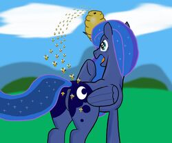 alicorn anus ass b.sting bee bee_sting beehive equine female friendship_is_magic hair my_little_pony pain princess_luna_(mlp) pussy raised_tail sting tail