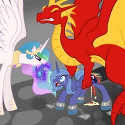 2012 alicorn balddumborat blood blue_hair bondage bound chained chains claws clenched_teeth closed_eyes crown cutie_mark dragon equine female feral friendship_is_magic hair helmet horn interspecies male my_little_pony open_mouth penis princess_celestia_(mlp) princess_luna_(mlp) rape ridiculous_fit size_difference straight teeth tongue wings
