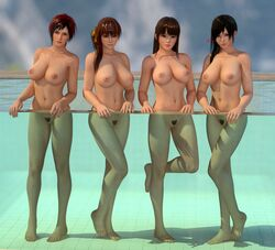 3d 4girls areolae barefoot black_eyes black_hair breasts brown_eyes brown_hair dead_or_alive feet female full_body kasumi_(doa) kokoro_(doa) large_breasts legs lei_fang lips long_hair looking_at_viewer mila_(dead_or_alive) multiple_girls navel nipples nude orange_ribbon outdoors ponytail pool pubic_hair pussy radianteld red_eyes red_hair short_hair side_ponytail soles source_filmmaker thighs tied_hair wet wet_hair xps