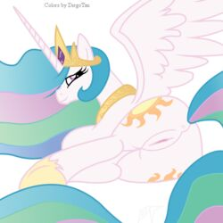 2012 alicorn anus ass crown cutie_mark diegotan equine female friendship_is_magic hair horn long_hair looking_at_viewer looking_back multicolored_hair my_little_pony pegasus presenting princess_celestia_(mlp) pussy smile solo wings