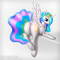 2012 alicorn anus ass crown cutie_mark equine female friendship_is_magic hair horn horse long_hair looking_at_viewer looking_back multicolored_hair my_little_pony pony presenting princess_celestia_(mlp) pussy raised_tail randomdouche solo wings