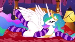 alicorn bed blanket crown curtains edit equine female friendship_is_magic hair horn horse jewelry jungleanimal lamp looking_at_viewer lying multicolored_hair my_little_pony necklace pony princess_celestia_(mlp) purple_eyes pussy smile socks solo spreading stockings teeth tiara unicorn wings